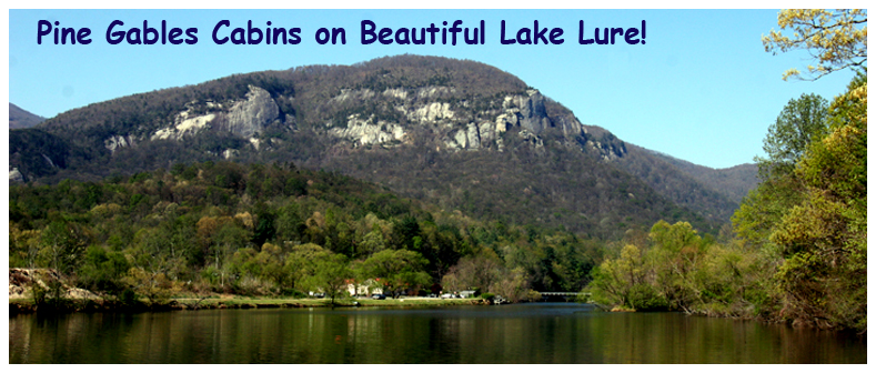 View of Lake Lure and Chimney Rock Mountian from Pine Gables Dock